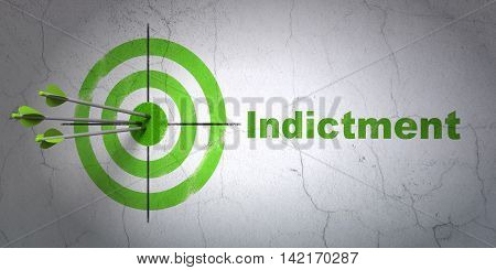 Success law concept: arrows hitting the center of target, Green Indictment on wall background, 3D rendering