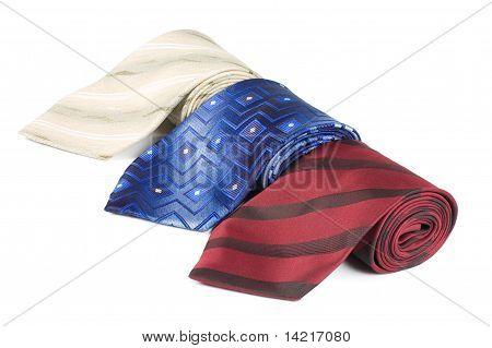 Set Of Luxury Ties On White Background