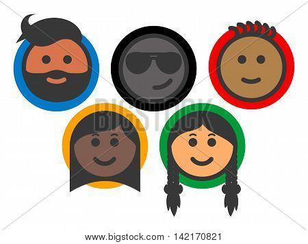 Team of multi-ethnic people - smiley face icons. People with different races and skin colors. Colored icon set. Isolated vector illustration on white background