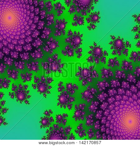 Bright neon green and ultra purple effective and beautiful floral pattern