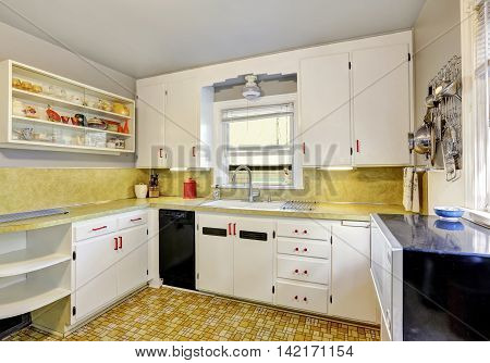 Old Fashioned Kitchen With White Cabinets, Cupboard.