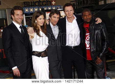 Liam Neeson, Quinton Jackson, Sharlto Copley, Jessica Biel and Bradley Cooper at the Los Angeles premiere of 'The A-Team' held at the Grauman's Chinese Theater in Hollywood, USA on June 3, 2010.