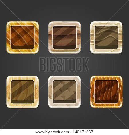 Set of shiny sand square button. Illustration for game design.