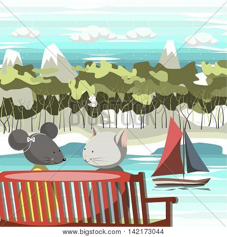 The illustration. The cat and mouse sitting on a red bench. On the river floats sailing ship. On the river beach, followed by forest and mountains with snowy peaks. In the sky clouds.