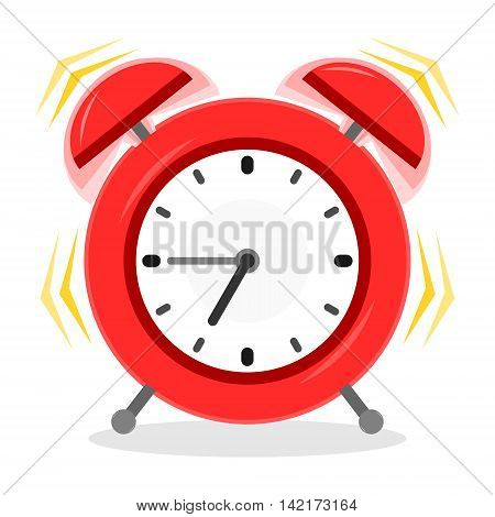 Alarm clock ringing. Red alarm with special ringing effect is in flat vintage cartoon style. Isolated vector illustration.