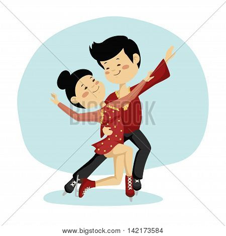Funny girl with boy on winter background. Pair skating on ice.