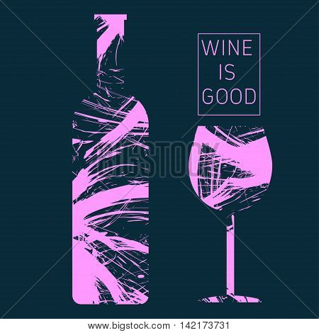Wine tasting card in pink outlines with a bottle and a glass over a dark background. Digital vector image.