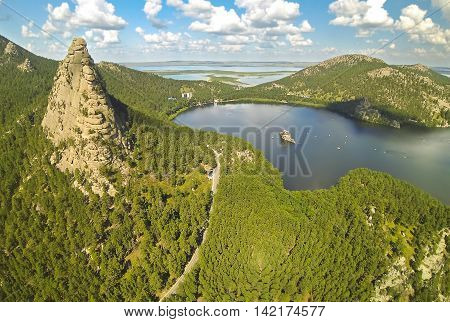 Aerial view of the a beautiful mountain lake Borovoe (Burabay), Kazakhstan