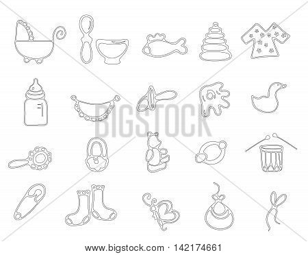 Thin line baby icons vector set. Hand drawn baby icons in linear style isolated on white background.