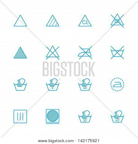 Laundry line blue icons Dry blue icons