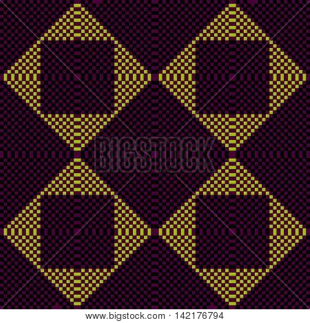 Pixel dark ornament. Pixel geometric art. Vector illustration
