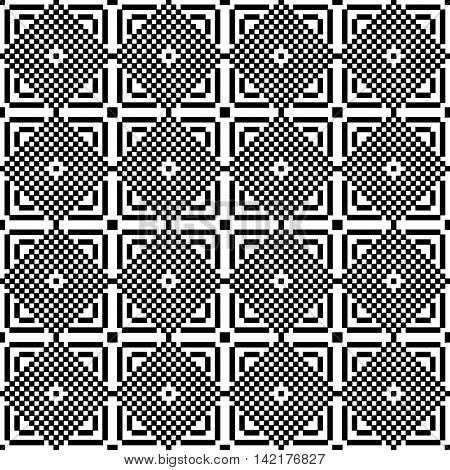 Pixel black and white ornament. Pixel geometric art. Vector illustration