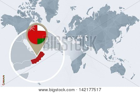 Abstract blue world map with magnified Oman. Oman flag and map. Vector Illustration.