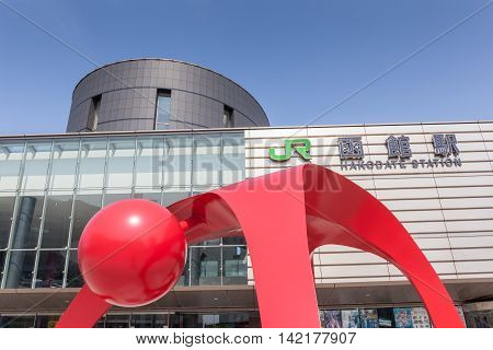 Hakodate Hokkaido Japan- June 6 2016. Red symbol decoration in front of JR railway Hakodate station.