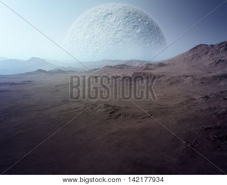 3D surreal landscape illustration: A dead planet