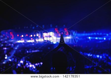 Silhouette Of Girl Partying At Festival, Concert Or Party. Woman Making Hand Gestures At Concert.