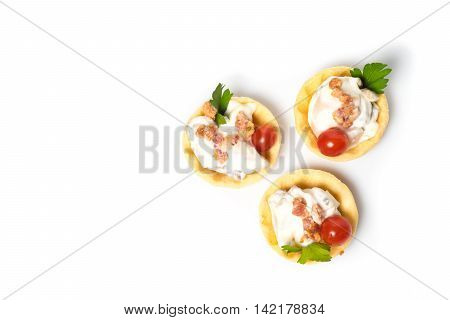 canapes appetizer with creamy Chicken salad Isolated on white