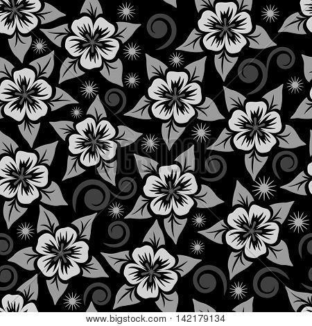 Abstract seamless black, grey and white flower ornamental vector pattern.