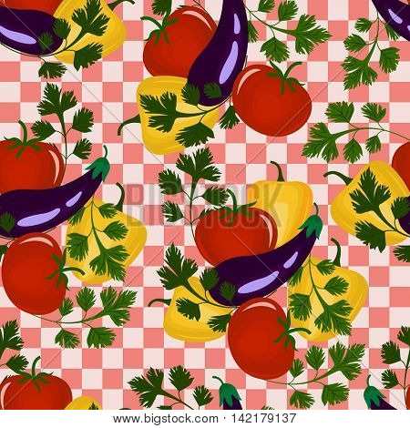 Seamless abstract vegetable vector background. Seamless pattern with tomato, pepper, eggplant and parsley.