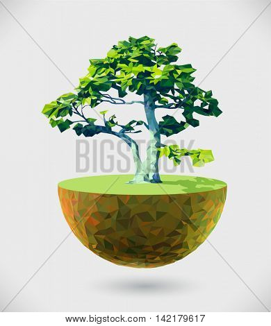 Vector low poly island illustration with tree. Creative design element for ecology, alternative energy solutions, reforesting, sustainable development concepts and topics.