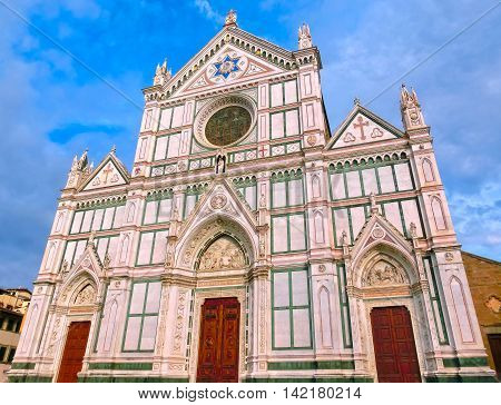 The Basilica di Santa Croce or Basilica of the Holy Cross - famous Franciscan church in Florence Italy