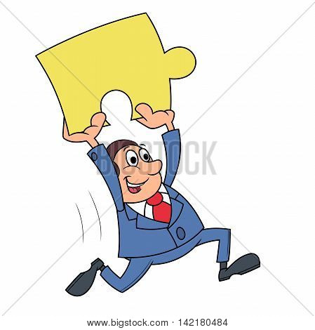 Illustration of the businessman carrying puzzle piece