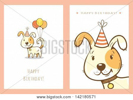 Birthday cards set with cute cartoon dogs. Balloons and party hats. Vector contour image. Little puppies. Funny animals.