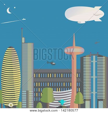 The view of the city. The city with skyscrapers, helicopters. Down town. Vector illustration.