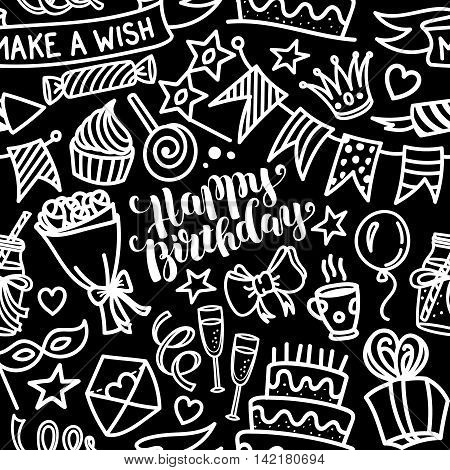 Happy birthday lettering and doodle seamless pattern, vector illustration white on black background. Funny pattern made of sketched birthday party objects