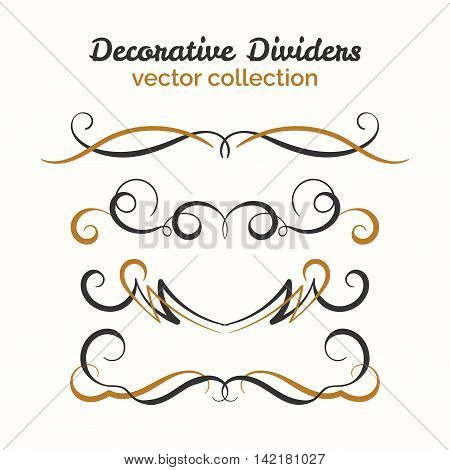 Hand drawn dividers set. Ornamental decorative element. Vector ornate design. Text divider collection.