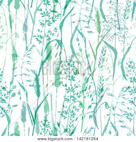 Vector seamless pattern. Meadow grass silhouettes cold green background. Ecological nature and organic product background.
