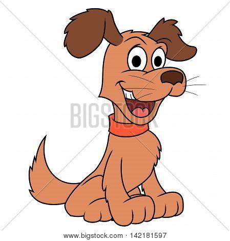 Illustration of the cute smiling dog. White background