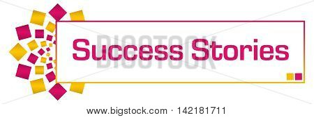 Success stories text written over pink golden yellow orange background.