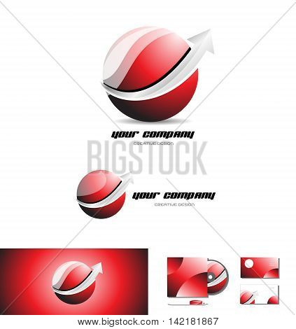 Red sphere silver grey arrow logo design 3d icon vector company element template games media communication
