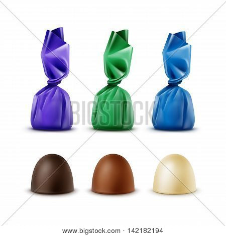 Vector Set of Realistic Dark Black Bitter White Milk Chocolate Candies in Colored Green Blue Violet Glossy Foil Wrapper Isolated on White Background