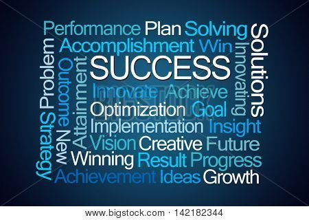 Success Word Cloud on Blue Background