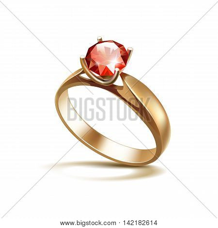 Vector Gold Engagement Ring with Red Shiny Clear Diamond Close up Isolated on White Background