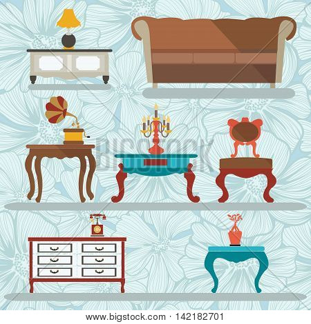 Interior Icons Set .Retro interior with a gramophone tables sofa in vintage style elements for design