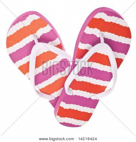 Pink And Orange Flip Flop Sandals In Heart Shape
