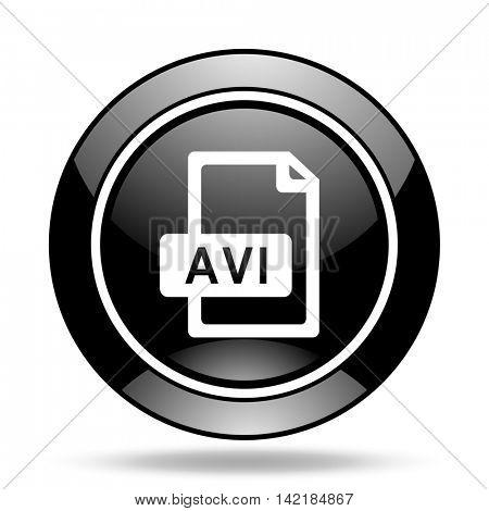 avi file black glossy icon