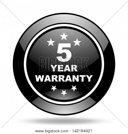warranty guarantee 5 year black glossy icon