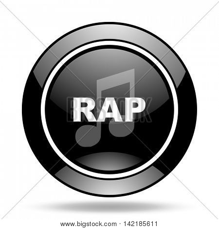 rap music black glossy icon