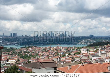Lanscape of Istanbul on a cloudy and sunny day
