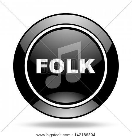 folk music black glossy icon