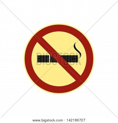 No smoking sign icon in flat style on a white background