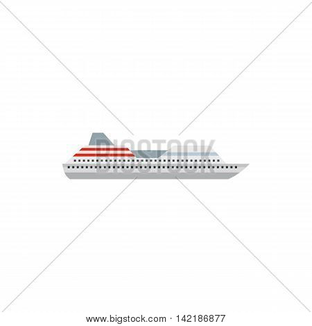 Cruise liner icon in flat style on a white background