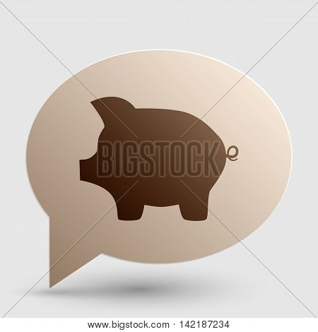Pig money bank sign. Brown gradient icon on bubble with shadow.
