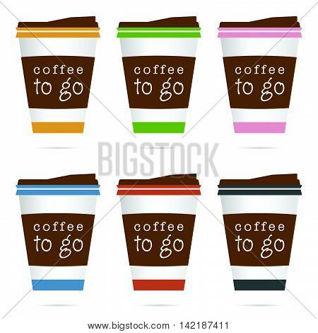 Coffee In Papaer Glass Icon Illustration In Colorful