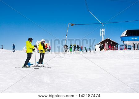 Kopaonik, Serbia - January 20, 2016: Ski resort Kopaonik, Serbia, ski lift, ski slope, people going down from the lift and skiing
