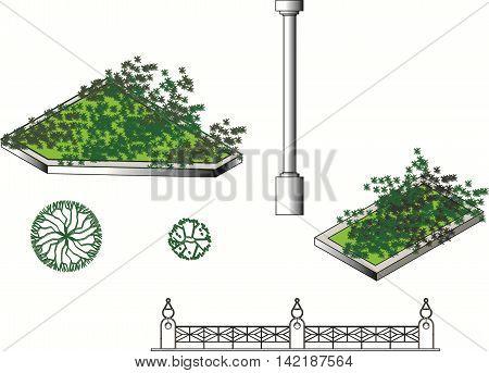 architecture elements set, classical column, symbol, garden